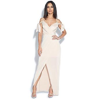 Tie Cold Shoulder Maxi Dress