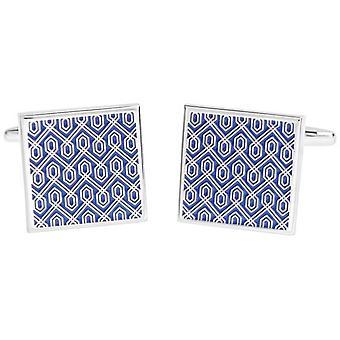 David Van Hagen glänzend quadratische Emaille geometrische Design Manschettenknöpfe - Blau/Silber