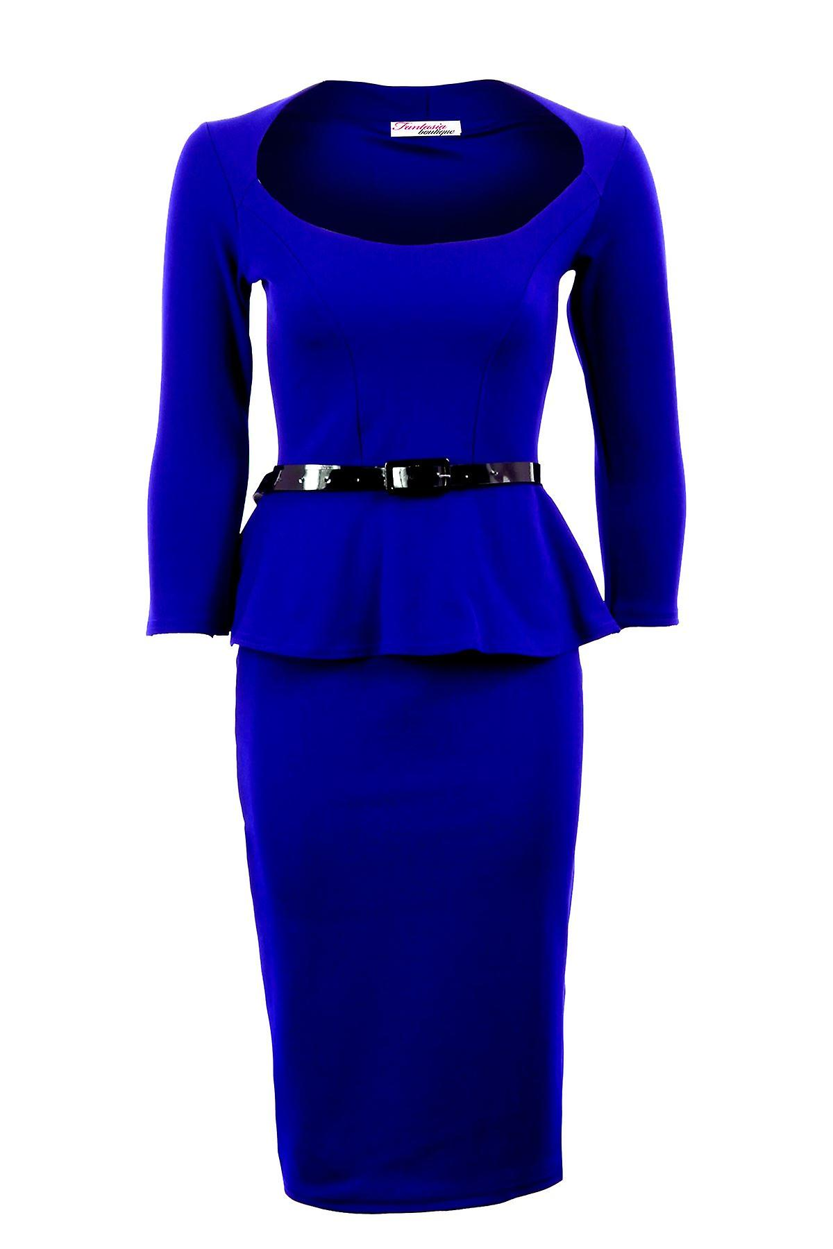 Ladies Long Sleeve Belted Peplum Knee Length Frill Bodycon Womens Dress