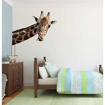 Etiqueta de la pared jirafa de color