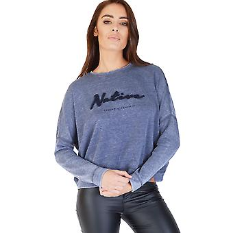 Friday's Project Long Sleeved Navy Blue 'Native' Slogan Jumper