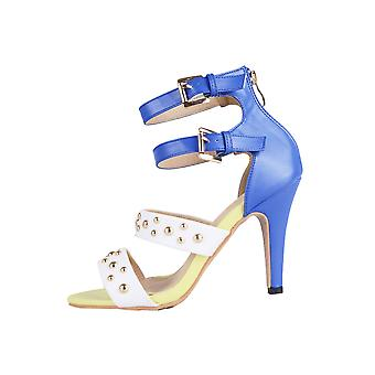 Lovemystyle Blue And White Studded High Heels