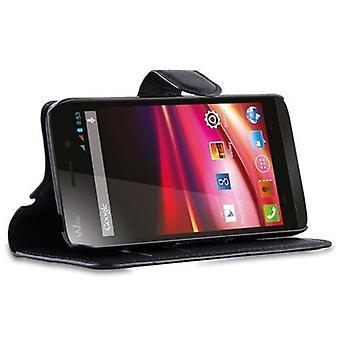 Cadorabo Case for WIKO FIZZ in PHANTOM BLACK - Boîtier de téléphone mobile avec fermoir magnétique, fonction de stand et compartiment de carte - Cas Cover Protective Case Book Folding Style