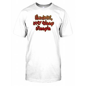 Illuminati Stay adormecido sheeple-conspiração Kids camiseta