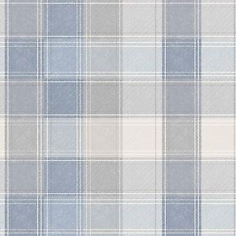 Country Tartan Check Blue Grey Wallpaper Plaid Chequered Checked Arthouse Denim