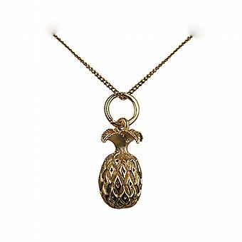 9ct Gold 13x8mm Pineapple Pendant with a curb Chain 20 inches