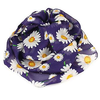 Eternal Collection Delightful Daisy White And Navy Multi Coloured Pure Silk Scarf