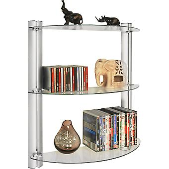 Maxwell - 3-Tier-Glas-Wand-Speicher / Display Regale / 150 Cd / 90 Dvd