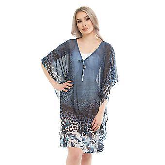 Seaspray SY008201 Women's Blue Leopard Print Beach Dress Cover Up Kaftan