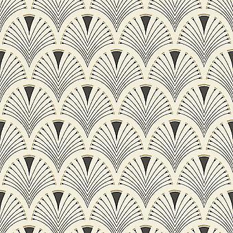 Retro Art Deco Arch Fan Design Black Cream Wallpaper Vinyl Paste Wall Glitter
