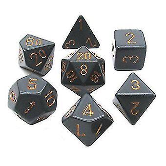 Solid Black & Gold Polyhedral Dice Set