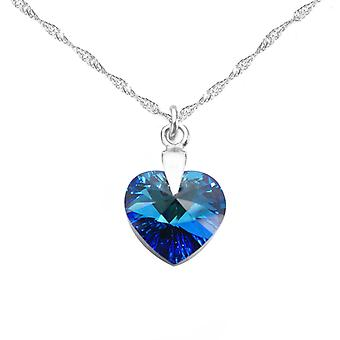 Ah! Jewellery Sterling Silver 14mm Bermuda Blue Crystals From Swarovski Heart Necklace