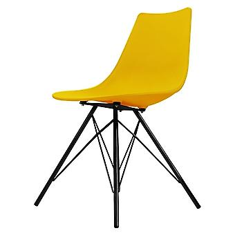 Cadeira de jantar plástica amarela icónica da fusão que vive com pés pretos do metal
