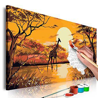 Tableau à peindre par soi-même - Giraffe at Sunset