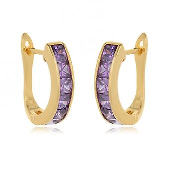 Creole Plated Gold All Amethyst Cubic Zirconia