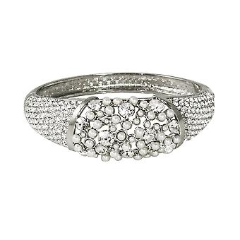 Eternal Collection Cherish Clear Austrian Crystal And Pearl Silver Bangle