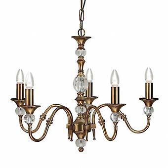 5 Light Multi Arm Ceiling Pendant Chandelier Antique Brass, Cristal