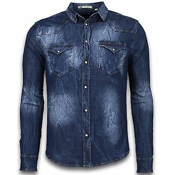 Camisa jeans - Nail Slim Fit - Vintage Washed - Azul