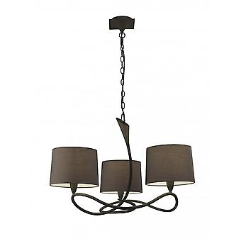 Mantra Lua Pendant 3 Light E27, Ash Grey With Ash Grey Shades