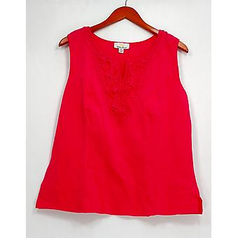 Kathleen Kirkwood Top Split Neck Crochet Camisole Hot Coral Pink A231645