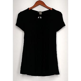 Kate Mallory top korte mouw Scoop nek uitgesneden stropdas terug Hi Lo zwart A432243
