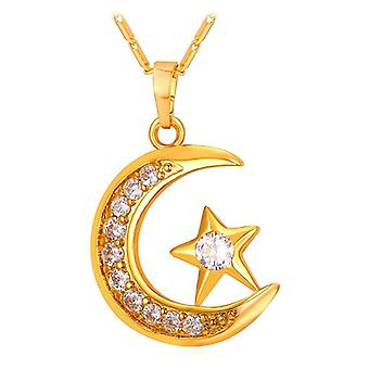 Semimoon and star Necklace-Gold