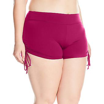 BEACH HOUSE WOMAN Women's Plus-Size Solid Boy Short Swimsuit, Red, Size 24W