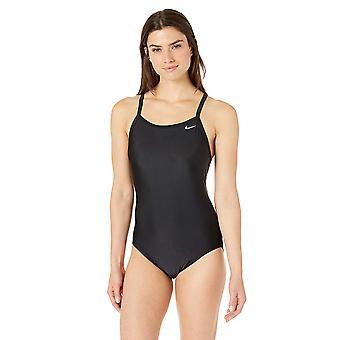 Nike Swim Women's Solid Racerback One Piece Swimsuit, Black, 38, Black, Size 38