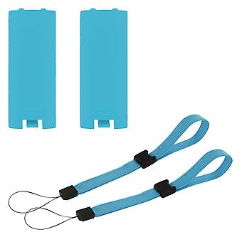 Battery cover & wrist strap kit for nintendo wii & wii u remote controller - 4 in 1 pack blue