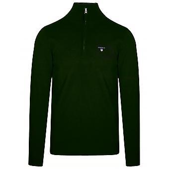 Gant Super Fine Lambswool halv-zip tartan grön Sweatshirt