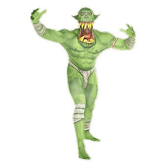 Herren grün Ork Jaw Dropper Moster Morphsuit Halloween Fancy Kleid Kostüm