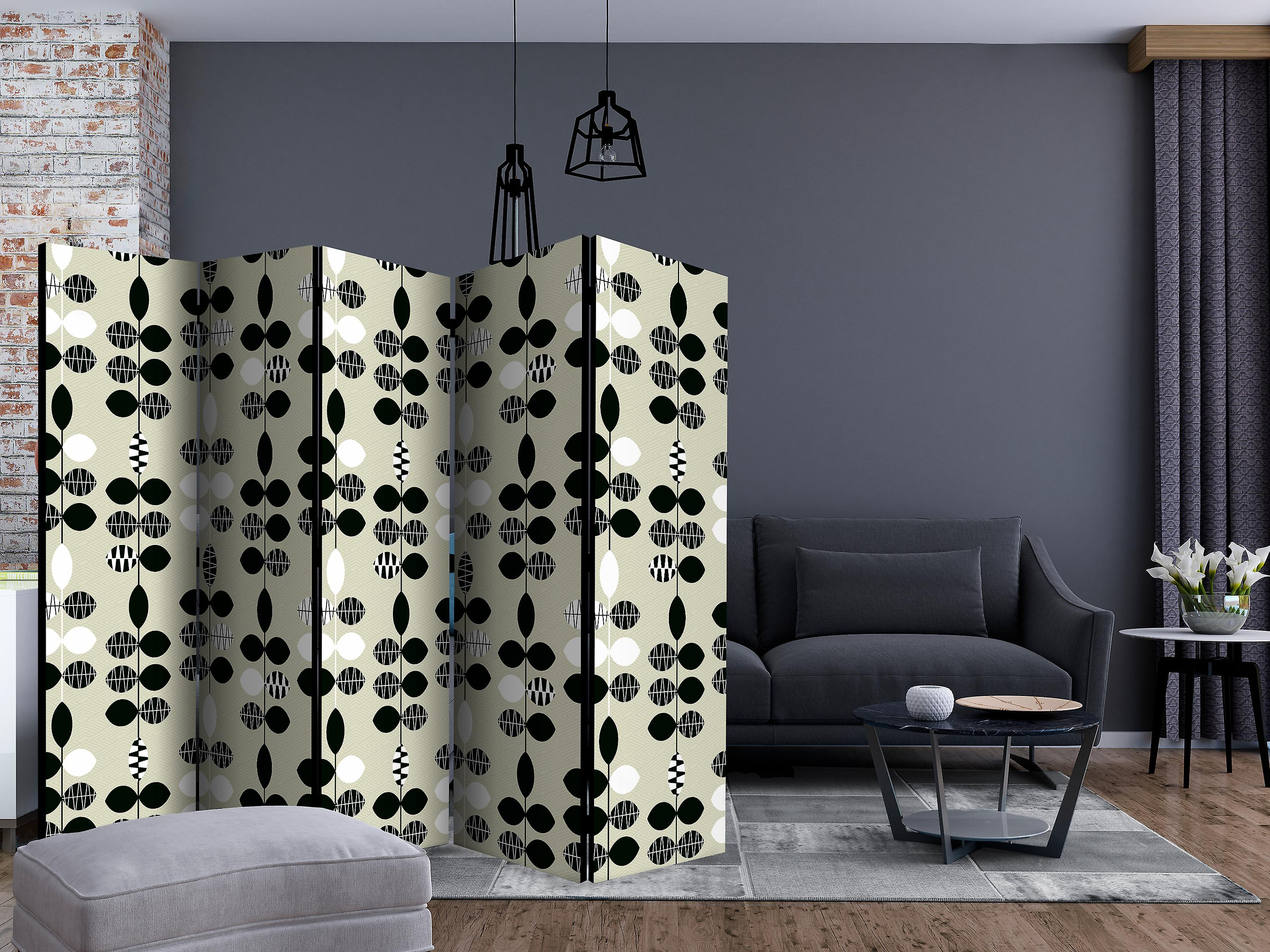 Paravent 5 volets - Black and White Dots [Room Dividers]