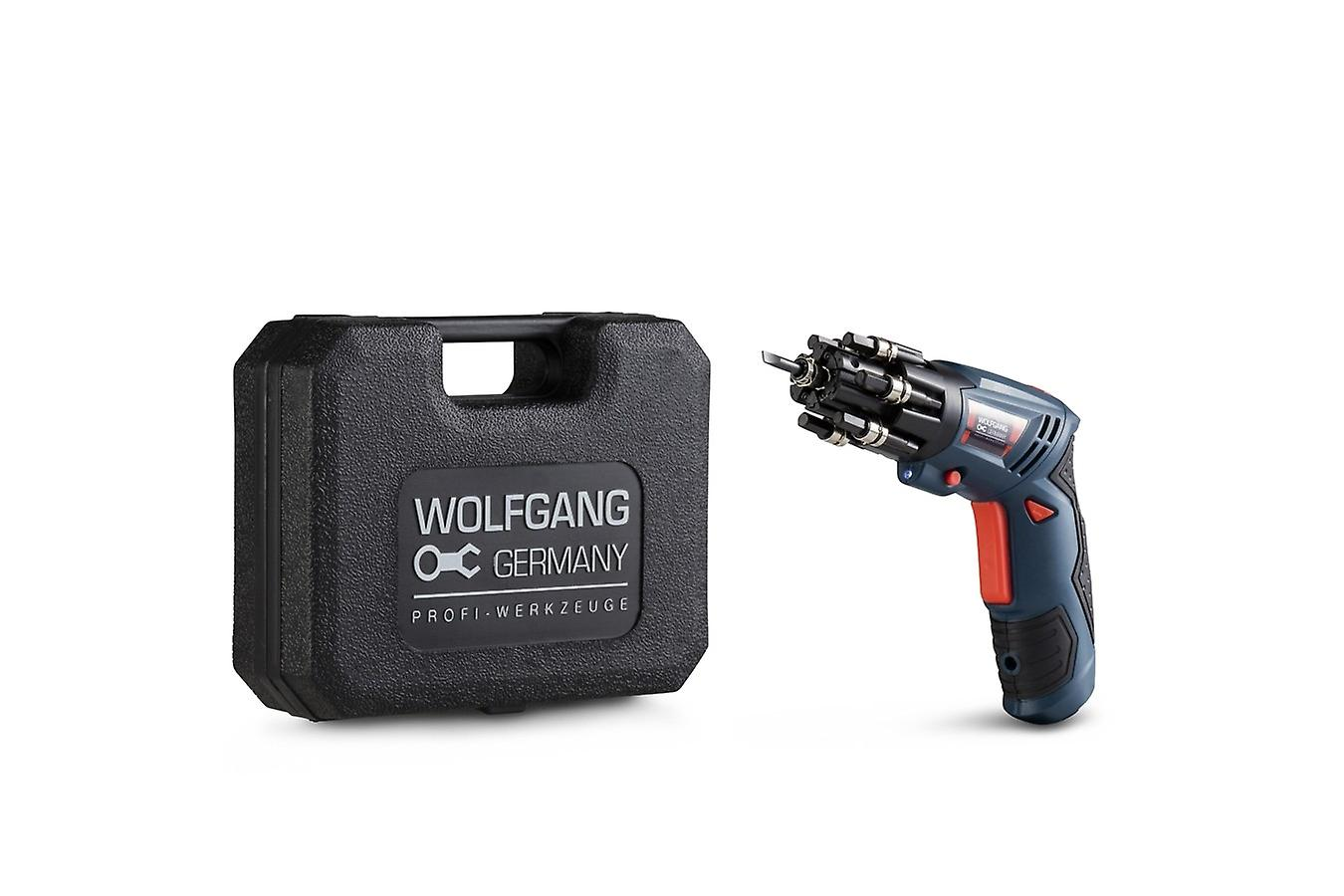 WOLFGANG 3.6 V Cordless Screwdriver Small, Mini Cordless Screwdriver Set, 1500mAh Li-ion, Quick Charge, 90° Rotary Handle, LED, 21 Bits, Bit Holder and Case, For Screws, Furniture, Assembly