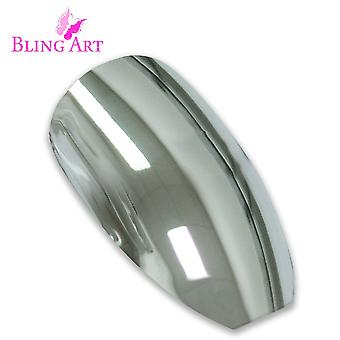 False nails by bling art silver chrome ballerina coffin acrylic long fake tips