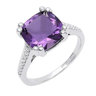 Dazzlingrock Collection 10K 10 MM Cushion Amethyst And Round White Diamond Bridal Engagement Ring, White Gold