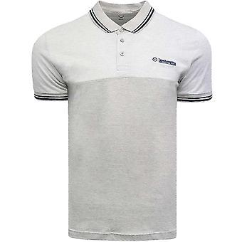 Lambretta Mens Jacquard Pique Short Sleeve Casual Top Polo Shirt - Greymarl