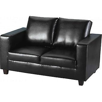 Tempo kaksi paikkainen sohva-in-a-Box-musta PU