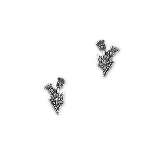 Scottish Thistle Flower Of Scotland Stud Pair Of Earrings - Marcasite Stones