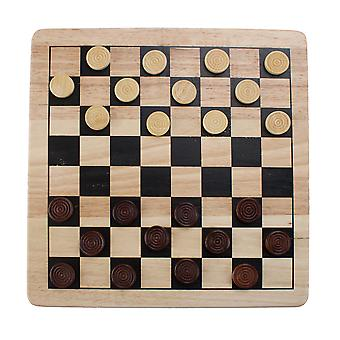 All Natural Wood 2-in-1 Checkers and Tic-Tac-Toe Set