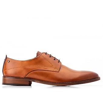 Base London Script Mens Leather Derby Shoes Tan