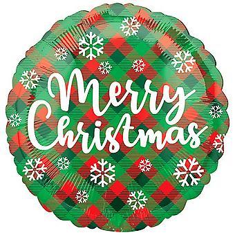 箔バルーン ラウンド メリー クリスマス格子縞 18 のアナグラム