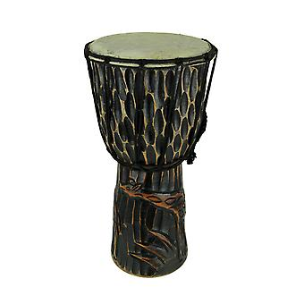 Hand Crafted Wood Djembe Hand Drum Giraffe Design 16 inch Tall