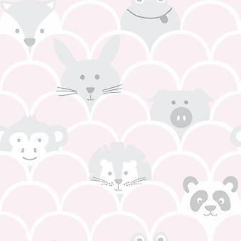 Sobre o Arco-Íris Peek um Boo Animals Papel de Parede Rosa / Cinza Holden 91031