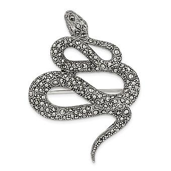 36mm 925 Sterling Silver Marcasite Snake Pin Jewelry Gifts for Women