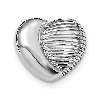 20mm 925 Sterling Silver Rhodium plaqué Love Heart Chain Slide Bijoux cadeaux pour les femmes - 4.2 Grammes