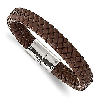Stainless Steel Polished Braided Brown Leather Bracelet 8.5 Inch Jewelry Gifts for Women