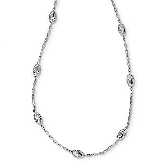 925 Sterling Silver Polished and Textured Beaded With 2 In Ext Necklace 20 Inch Jewelry Gifts for Women