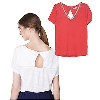 Grace and Mila Menthe Glitter Edged V Neck Fine Knit Tshirt Top