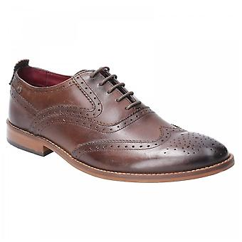 Base London Brown Leather Focus Washed Lace Up Brogue Shoes