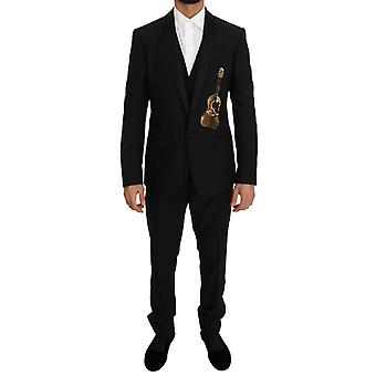 Dolce & Gabbana Black Wool Silk Gold Guitar Slim Fit Suit